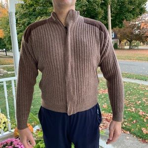 Vtg Cabela's Wool Cardigan Jacket Zip Ribbed Suede